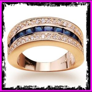 🆕 S925 10kt Yellow Gold Blue Sapphire Ring